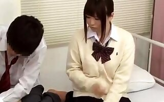 Hot threesome asian action in college room video