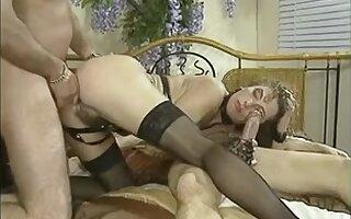 Kinky German vintage group anal sex movie