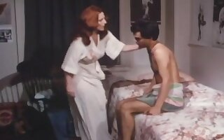 Redhead mom seduces a young man